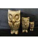 Vintage Set of Three Solid Brass Owl Figurines Paperweights - $24.00