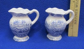 Tower of London Thames River Scene Salt and Pepper Shakers Pitcher Vintage Pair - $9.40