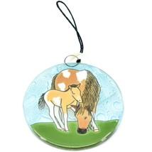 Fused Art Glass Horse Mare Mom & Foal Baby Ornament Handmade in Ecuador