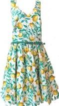 Elle Lemon Print Sundress Dress w/Skinny Belt Criss Cross back NWOT$60 Size 14 - $47.49