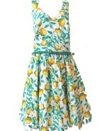 Elle Lemon Print Sundress Dress w/Skinny Belt Criss Cross back NWOT$60 S... - $47.49