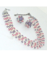 Japan En esclavage 5 Strand Glass Bead Necklace & Matching Earrings  - $14.99