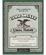 The Complete Book of Corporate Legal Forms Daniel Sitarz 093 - $9.00