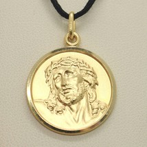 18K YELLOW GOLD ECCE HOMO, JESUS CHRIST FACE MEDAL DETAILED MADE IN ITALY, 19 MM image 2