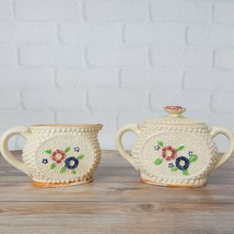 Vintage Suger Bowl and Creamer Ivory Floral Discontinued Retired Replace... - $19.99