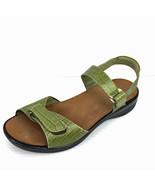 """Dr. Comfort """"Rachel"""" Green Embossed Leather Comfort Sandals - $39.99"""