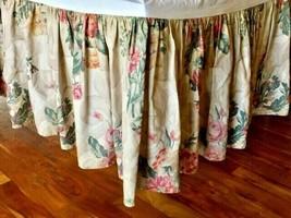 Ralph Lauren Vintage Tan Floral Scroll Roses Hydrangea Bedskirt Ruffle King Rare - $41.71
