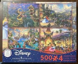 Disney Kinkade 4 Pk 500 Pc Puzzles Tangled Sleeping Mickey Peter Pan w/ ... - $16.98