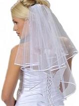 YDTQXG Bridal Veil Short 2-stage With Satin Edge White - $37.54