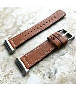 Marrone Colore Morbido Cinturino IN Pelle Con Bianco Cuciture Per Fitbit... - $37.66
