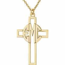 Monogram Cross Pendant in 10K Yellow Gold (3 Initials) - $213.69