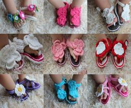 New Cute Handmade Knit Crochet Baby Flower Sandal Shoes Newborn Photo Pr... - $8.99