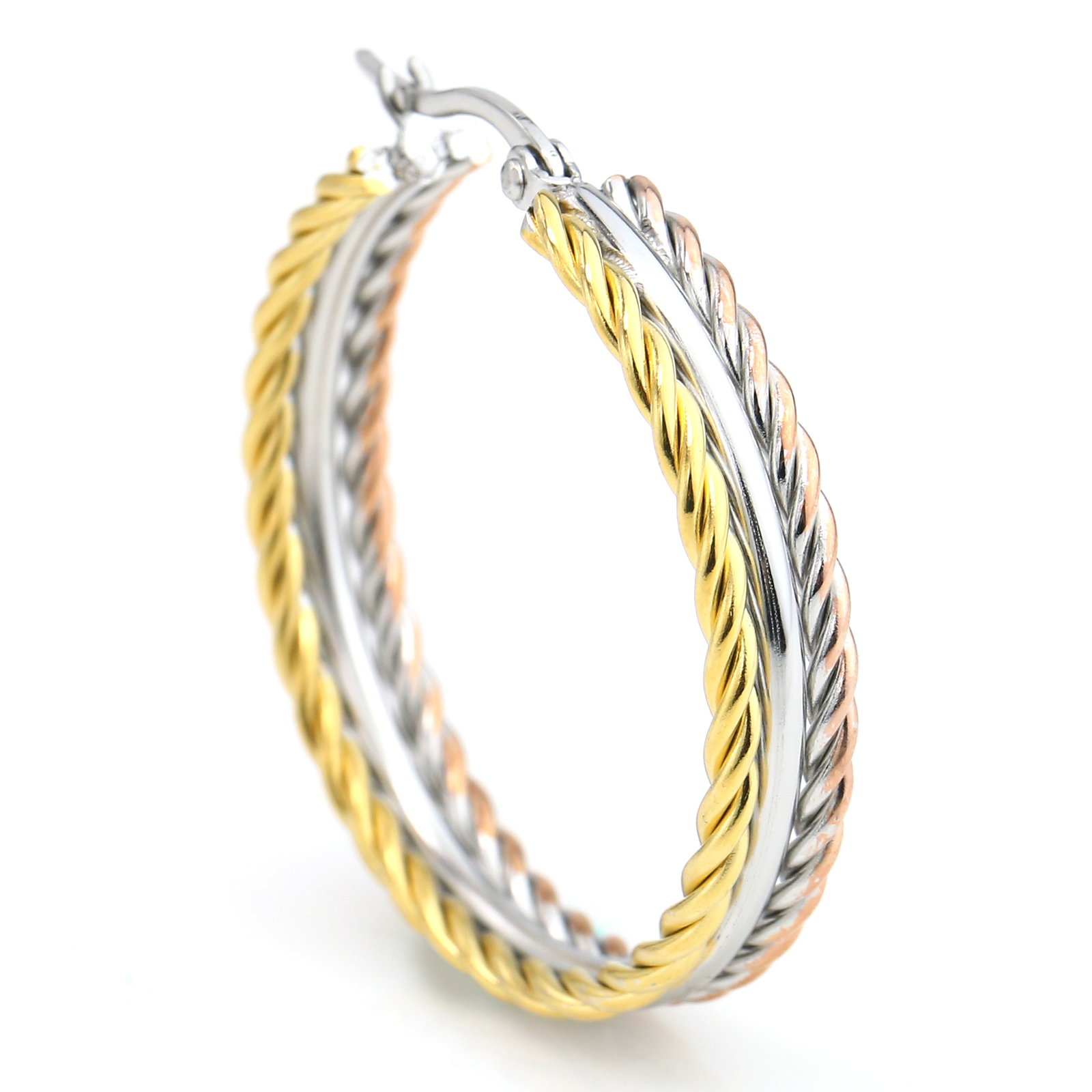 Twisted Edge Tri-Color Silver, Gold & Rose Tone Hoop Earrings- United Elegance