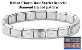 Etched Pattern Italian Charm Starter Base Bracelet 18 link - Classic 9mm size - $6.44