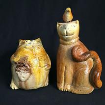 2 Pottery Cats Feline Handpainted Figurine - $27.72