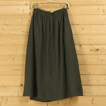 Cotton Linen Wrap Skirts Women A Line Long Casual Skirt, Khaki Army Green Black image 5
