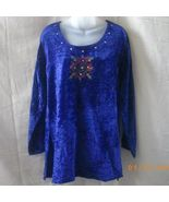 New Shakti Wear blue velvet tunic with embroidery and sequins - $11.25