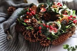 Handmade Table Centerpiece Christmas Wreath with Four Tea Light Candle H... - $50.00+