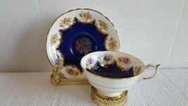 Gorgeous Paragon England Tea Cup And Saucer Rose Bouquet Cobalt Blue Gold Trim - $74.99