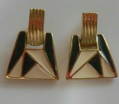 Vintage TRIFARI Door Knocker Pierced Earrings Black & Cream Enamel - $22.28