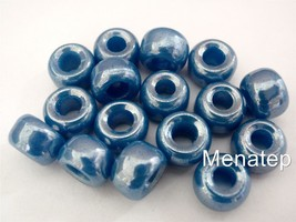 12 5 x 9mm Czech Glass Roller/Crow Beads: Dark Blue - Luster - $1.83