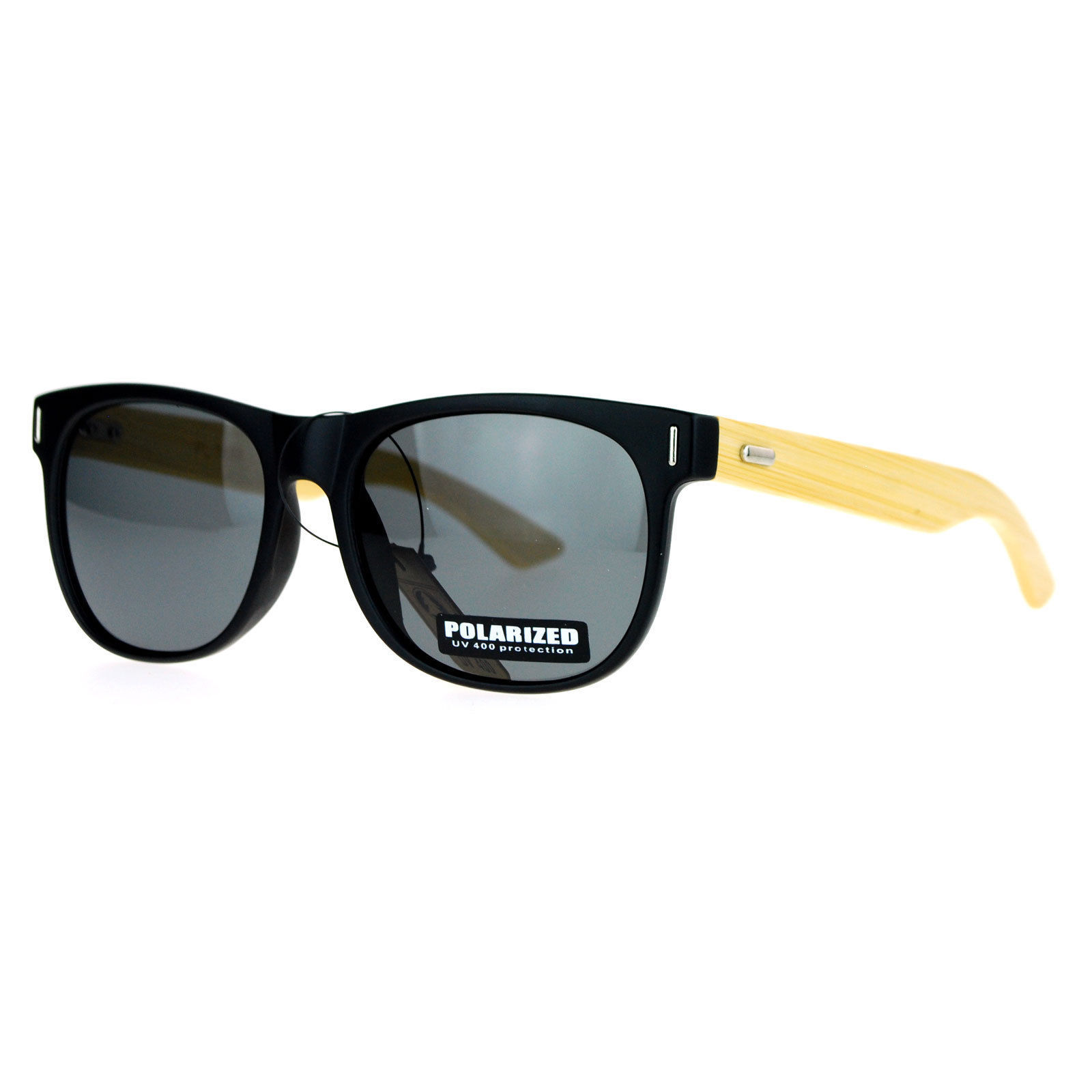 Polarized Lens Real Bamboo Temple Sunglasses Matted Horn Rim Frame