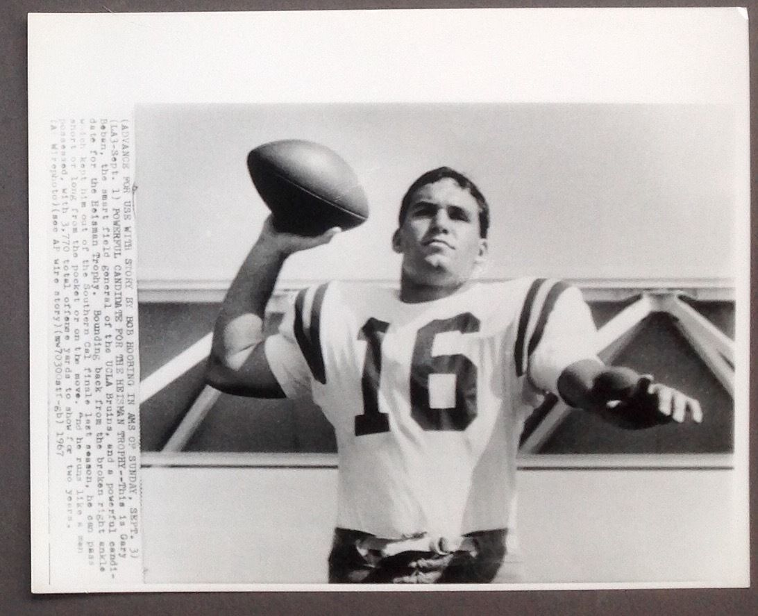 1967 UCLA Bruins Gary Beban Heisman Trophy Winner UPI Wire Photo