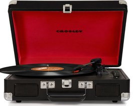 PORTABLE RECORD PLAYER STEREO TURNTABLE JET BLACK ELVIS PRESLEY 3 SPEED  image 1