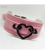 DWL Black Heart Charm BDSM Collar in Pink - $16.99