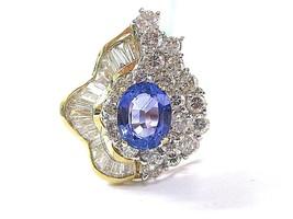 18Kt Natural Gema Tanzanita & Multi Forma Diamante Oro Amarillo Joyería ... - $3,384.04