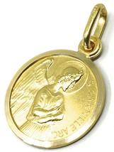 SOLID 18K YELLOW GOLD ROUND MEDAL, SAINT GABRIEL ARCHANGEL, DIAMETER 15mm image 1