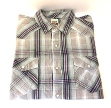 Levis Men's Long Sleeve Western Shirt Modern XL Plaid Pearl Snaps 100% C... - $19.99
