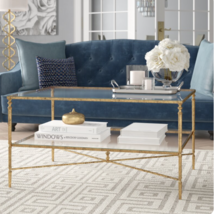 Horchow Gold Iron Hollywood Regency Glass Coffee Table with Storage - $598.00