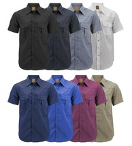 Men's Casual Western Pearl Snap Button Down Short Sleeve Cowboy Dress Shirt image 1