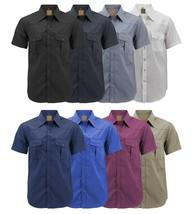 Men's Casual Western Pearl Snap Button Down Short Sleeve Cowboy Dress Shirt