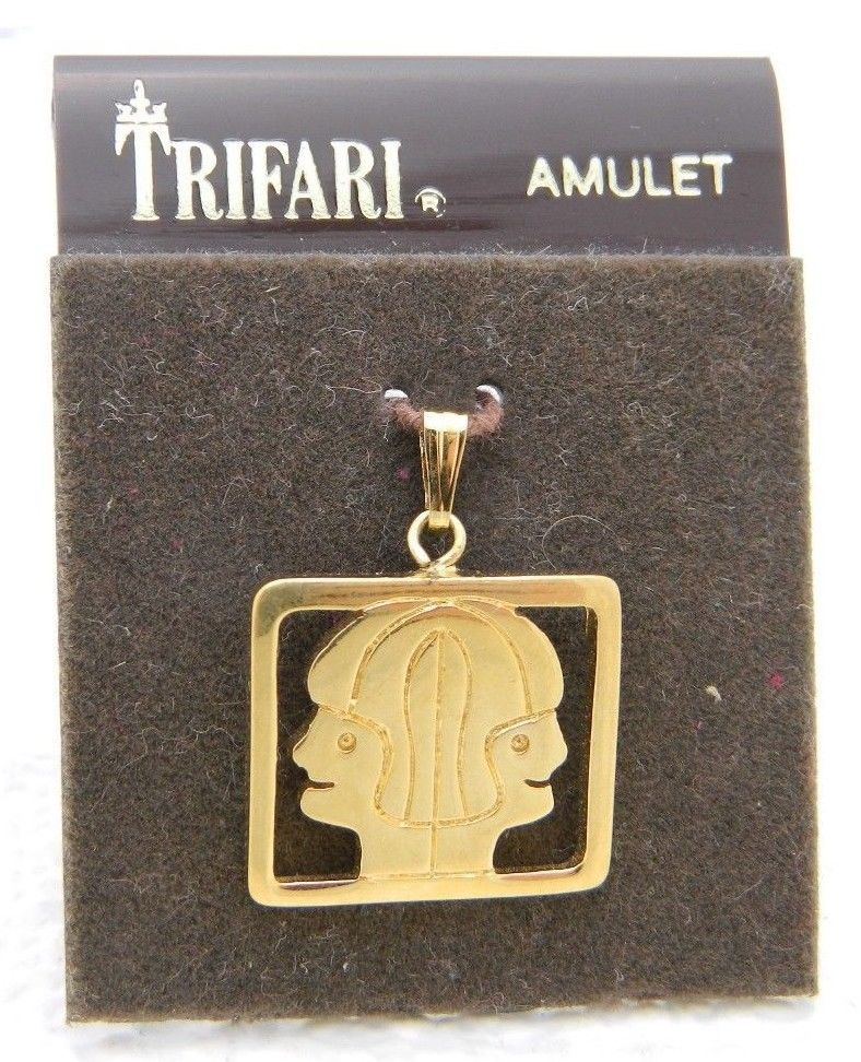 Primary image for VTG CROWN TRIFARI Gold Tone Double Faced Pendant Amulet NOS