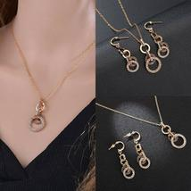TwoLayer Size Circle of Love Earrings Necklace Jewelry Set image 7