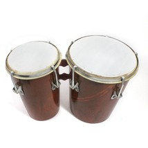 Two Piece Hand Made Wooden Bango Drum Set (Brown)7 Inch Size- H-18 x L-2... - $43.01