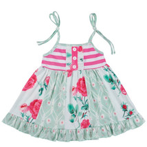 NWT Boutique Floral Green Pink Sleeveless Girls Ruffle Dress 6-7 - $12.86