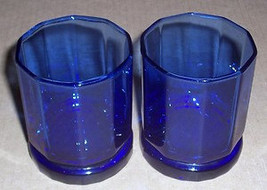 Vintage (2) Cobalt Blue Anchor Hocking Solid Short Glass Tumblers - $26.99