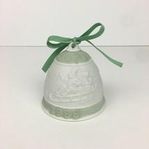 Lladro 1988 Vtg Christmas Holiday Porcelain Ornament Bell Reindeer Santa Green - $15.88