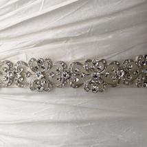 Silver White or Ivory Antique Vintage Rhinestone Bridal Belt Ribbon Wedd... - $61.98