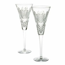 WATERFORD Crystal Wedding Heirloom Toasting Flute Champagne Pair New  #139936 - $276.21