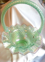 Fenton Art Glass Willow Green Pink Chiffon Crest Hobnail Basket  MIB - $125.00