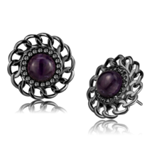 Women's Stainless Steel IP Light Black Semi-Precious Amethyst 5.56(g) Stud Earri - $20.70