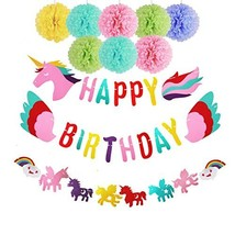 Birthday Party Decorations for Girls, Happy Birthday Unicorn-Banner Rain... - $19.77