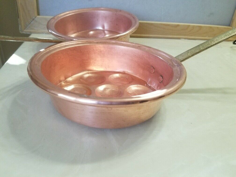 2 Vintage Copper Egg Pans Pots Molds Wall Decor With Brass Handles image 6