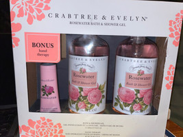 Crabtree & Evelyn Rosewater Bath Shower Gel 2 Pack and Bonus Hand Therap... - $33.64