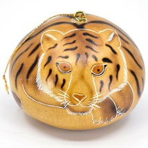 Handcrafted Carved Gourd Art Tiger Big Cat Zoo Animal Ornament Made in Peru