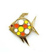 Vintage Medio Secolo Trifari Color Oro Smalto Mod Jelly Belly Pesce Pin ... - $116.23